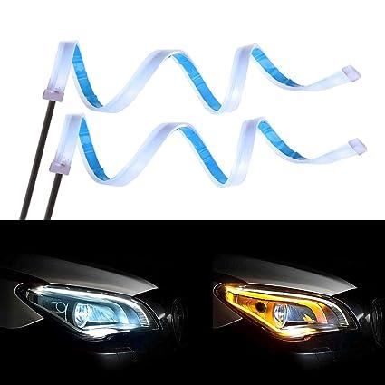 Senzeal LED Light Strip 60 cm bicolor blanco ámbar sequential ...