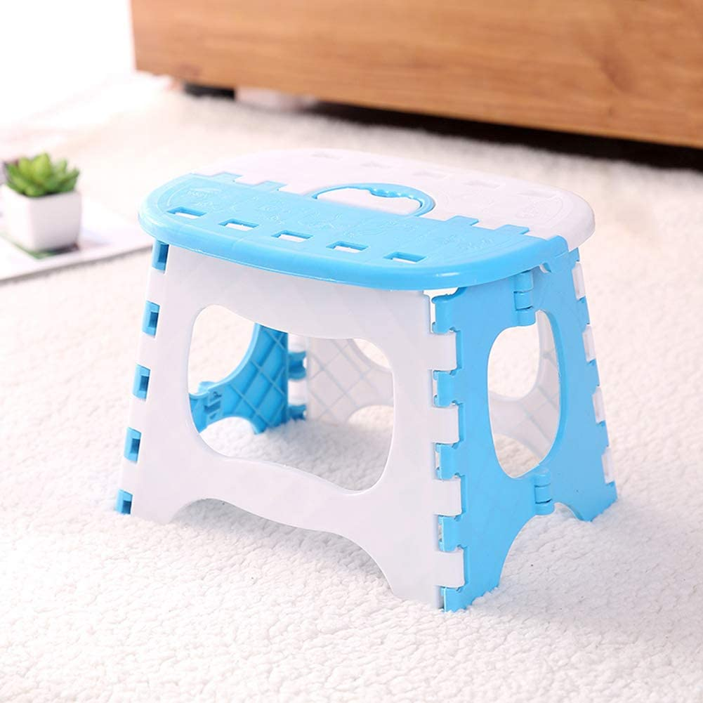 Suppyfly Plastic Multi Purpose Folding Step Stool Home Train Ext/érieur Foldable Easy Storage bleu