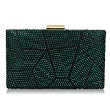 Women Clutches Crystal Evening Bags Clutch Purse Party Wedding Handbags (Green)