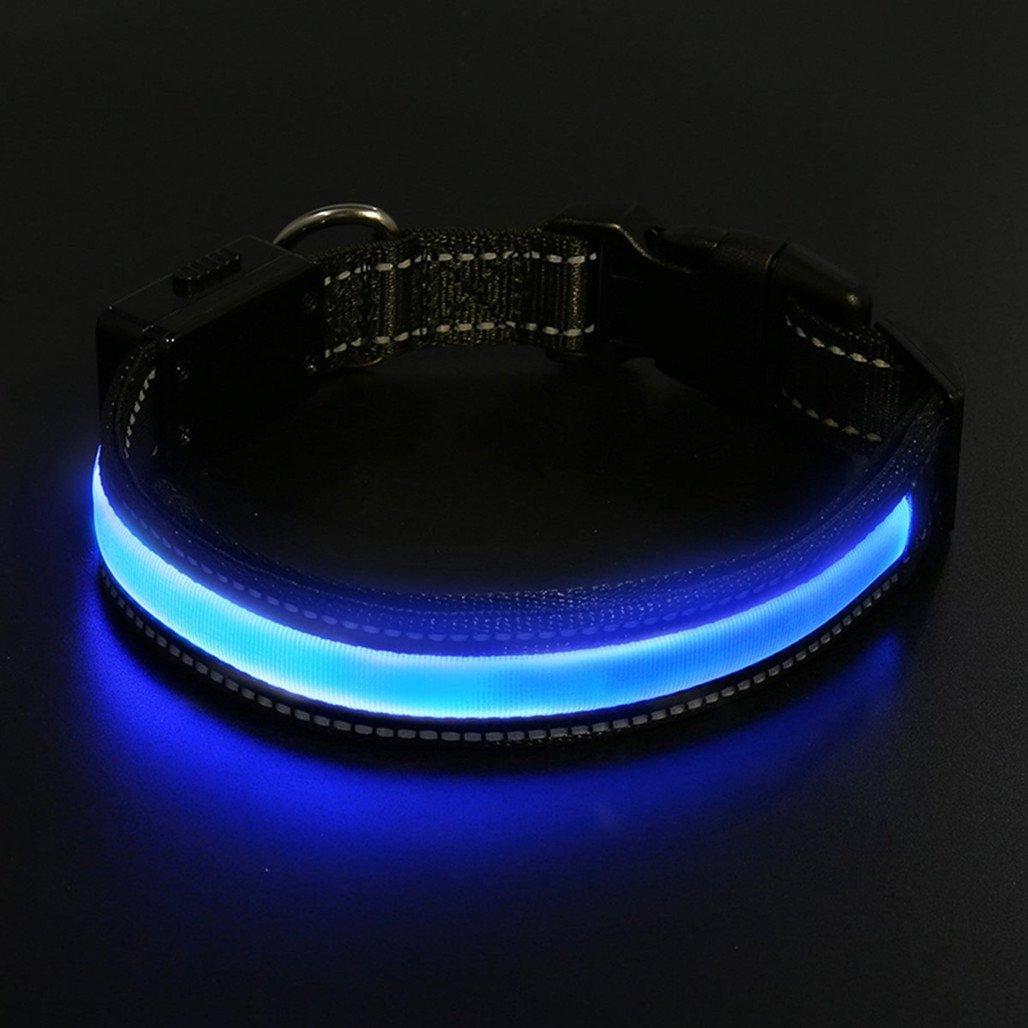 LaiXin Collier pour Chien LED, Collier Lumineux Clignotant Collier de Sécurité en Nylon Collier pour Chien Réglable Imperméable Rechargeable par USB Câble et Solaire 3 Modes - Rouge(L,50~60cm,25~40kg)