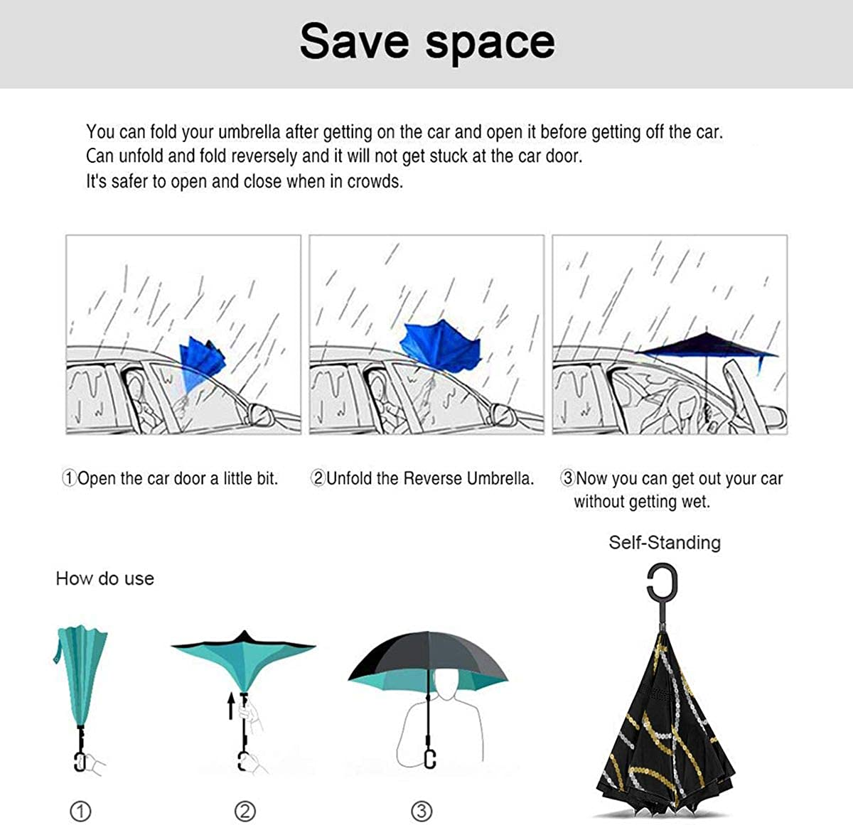 Sequins Seamless Pattern Vertical Wave Reverse Umbrella Double Layer Inverted Umbrellas For Car Rain Outdoor With C-Shaped Handle Customized