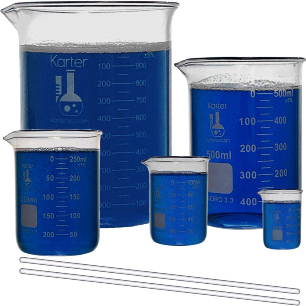 Indianapolis Mall Glass In stock Low Form Beaker Set with 2 Rods 5 - Stirring Sizes