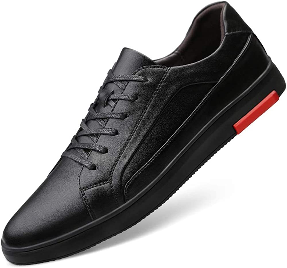 for Men Casual Leather Upper Comfortable Sneakers Skate Shoes Flats Low Top Anti-Slip Round Toe Lace Up Comfortable Black