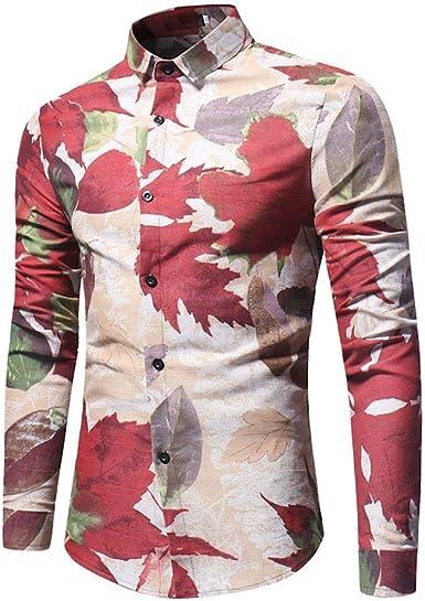 Domple Men Fashion Lapel Floral Print Slim Fit Buttons Casual Cotton Long Sleeve Shirt