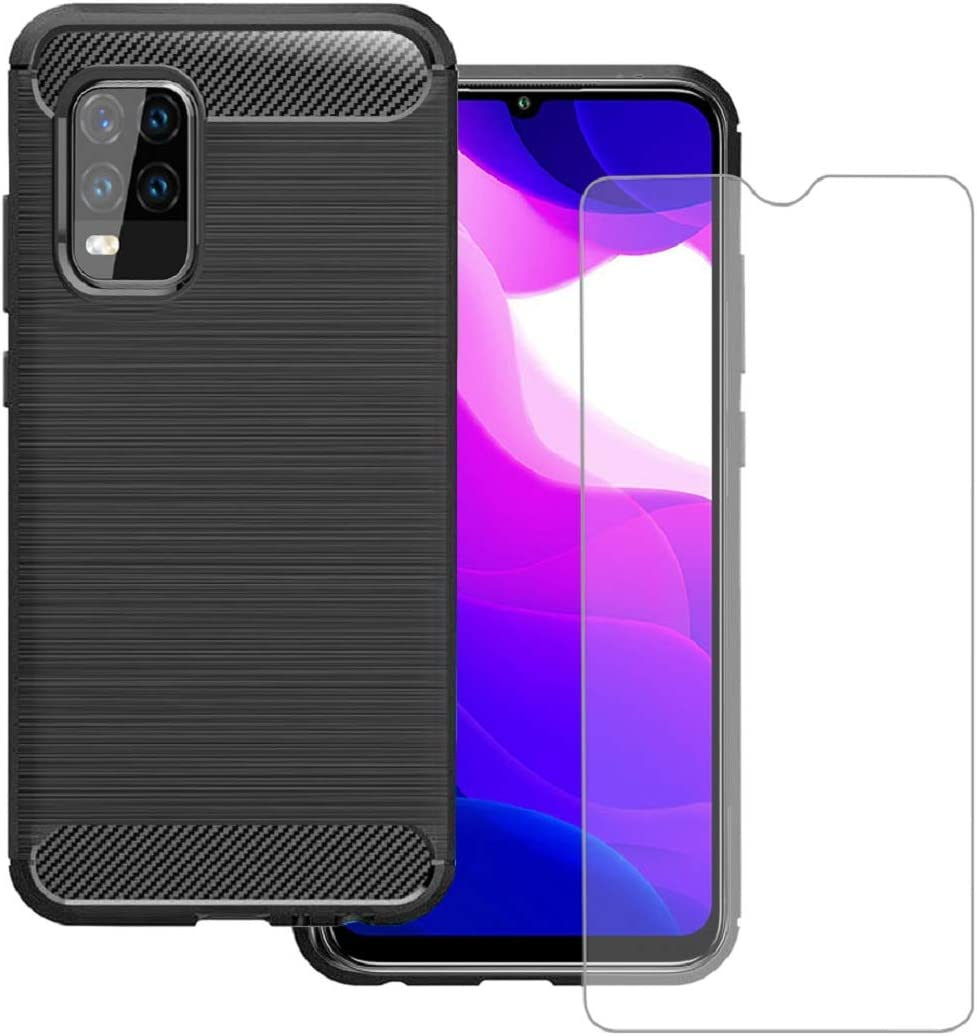 KZIOACSH Funda para Xiaomi Mi 10 Lite 5G + Cristal Templado, Carcasa con Absorción de Impacto,TPU Silicona Cover Xiaomi Mi 10 Lite 5G,Negro