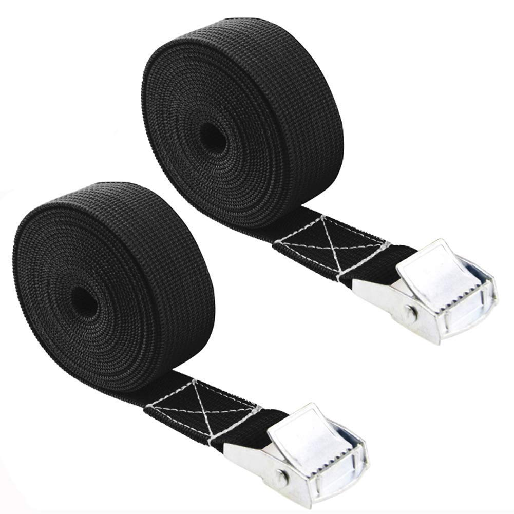 1M x 2.5cm Carriers and Other Roof Mounted Luggage Cargo Pack of 2 Lashing Straps with Buckle Good for Roof-top Tie Down with Kayaks Canoes