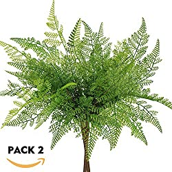 "besttoyhome 2 Pcs Artificial Ferns Plant Bush Fake Fern Leaves Outdoor Infoor in Green 16.5"" Tall X 11.8"" Wide for Garden Greenery Wedding Centerpiece Wall Decor"