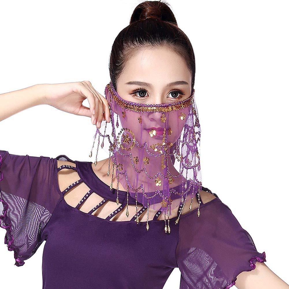 Hankyky Dance Face Veil Damen Baucht/änzerin Pailletten Quasten Gesicht Schleier Kost/üm Zubeh/ör