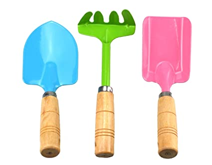 Annymall 3 PCS Garden Tools Set, Metal With Sturdy Wooden Handle Gardening  Tools Trowel,