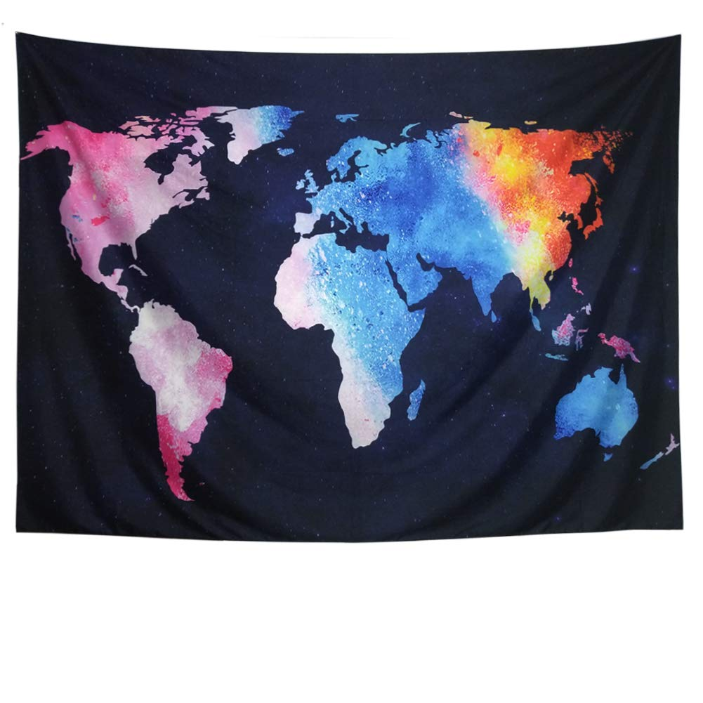 Ameyahud World Map Tapestry Starry Colorful Map Tapestry Abstract Painting Wall Hanging College Student Dorm Decor