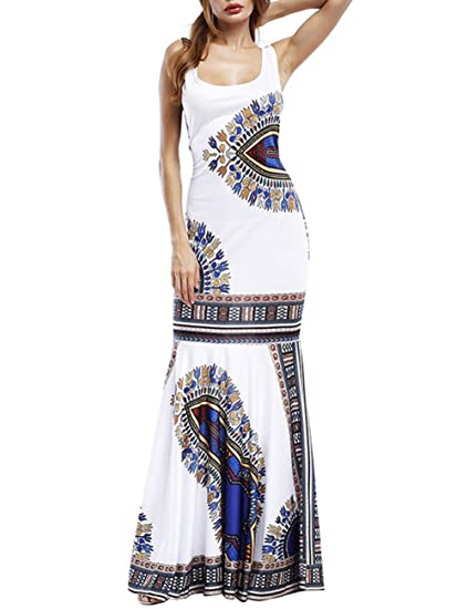 LULUKO Mujer Vestido Largo con Estampado Africano Falda Ceñida con ...