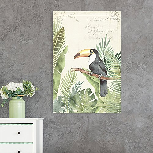 Vintage Style Toucan Bird on Tropical Leaves Background