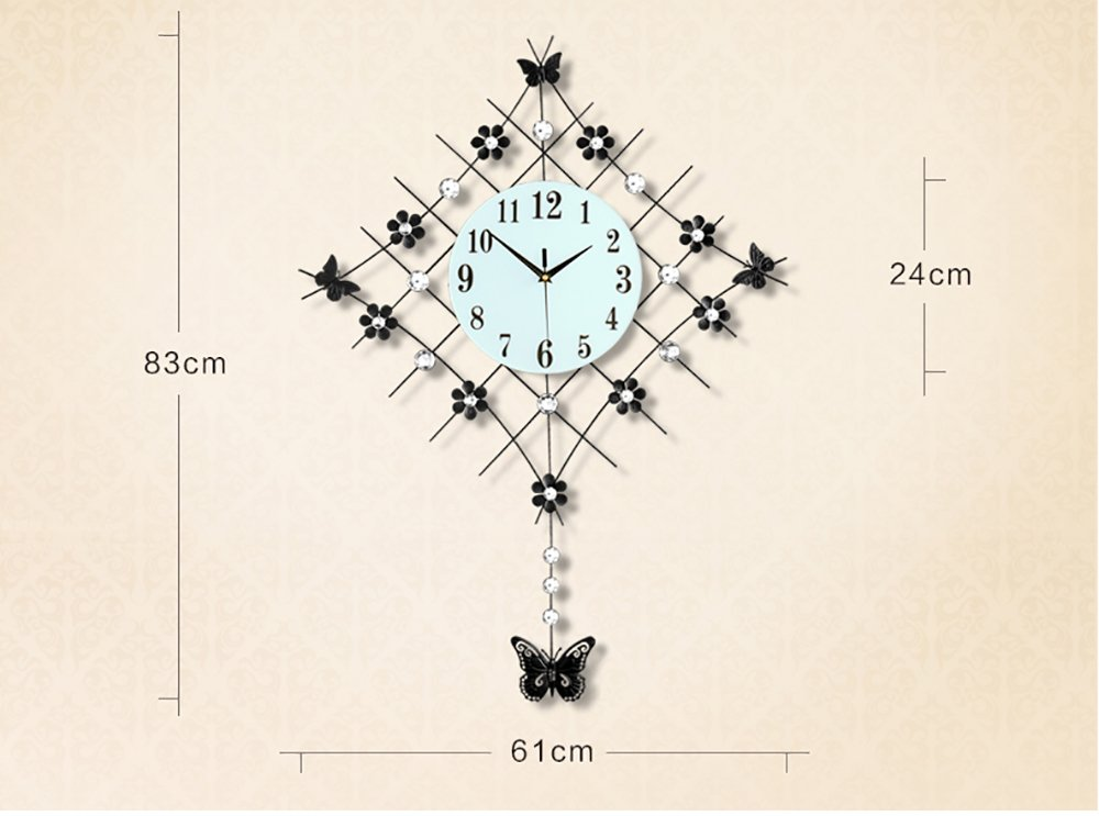 Flashing Europ/äische Pastoral Ruhige gro/ße Glocke Uhr Quarz Uhr Wohnzimmer Moderne einfache kreative Mode Wanduhr Farbe : Gold