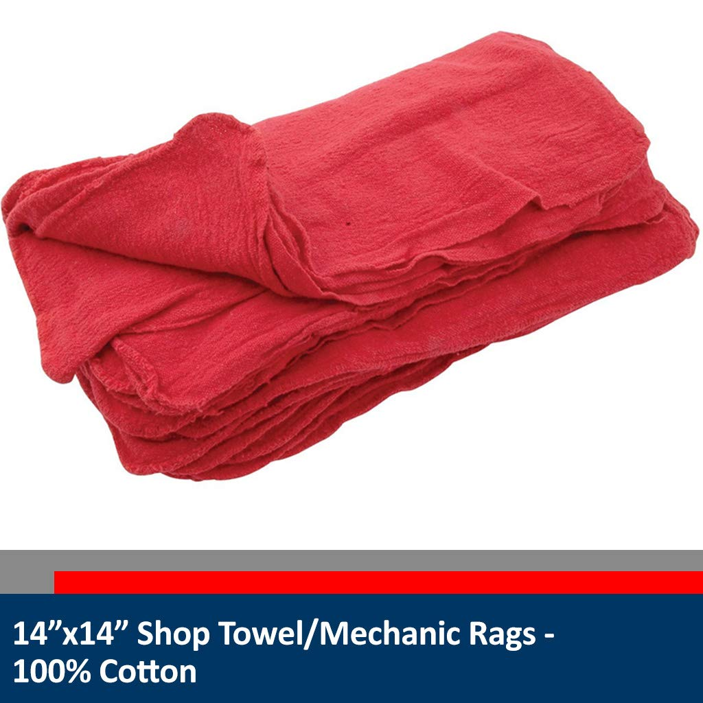 Sara Glove 14x14 Inch Shop Towel/Cleaning Mechanic Rags - 100% Cotton Commercial Towels, Perfect for Automotive Garage, Kitchen, Home (Blue) (100 Count) by Sara Glove (Image #3)