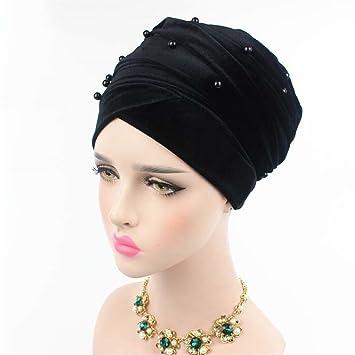 Long Turban Headband Beaded Studded Pearled Extra Muslim Women Turban Head  Wraps Black with black 3bb71e59040