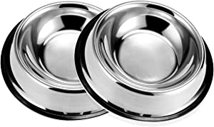 PETCEE Stainless Steel Dog Bowl,Dog Bowls with Rubber Base for Small Medium Large Dogs,Pets Feeder Bowl for Dogs Cats