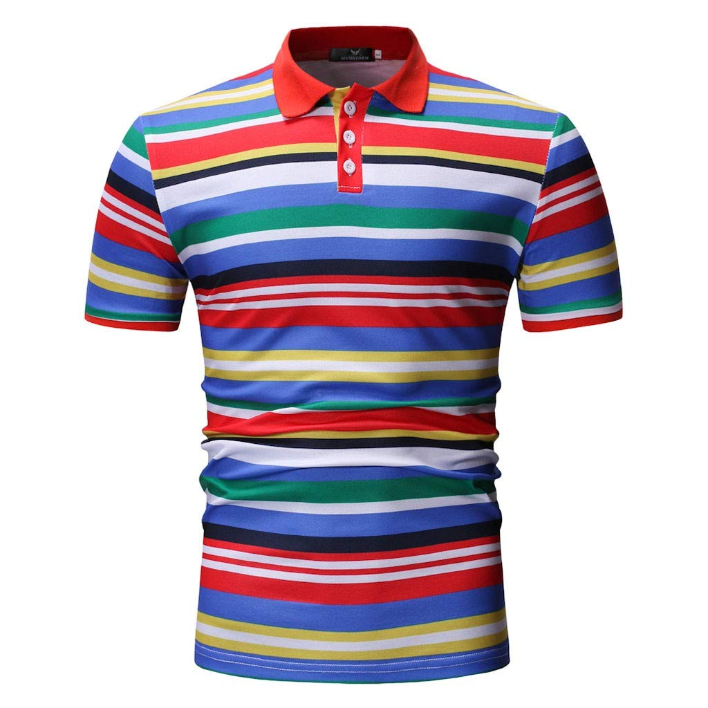Short Sleeve Regular-Fit Striped Polyester Stand Collar Slim Top Button Up Blouse Men Stripe Polo Shirt