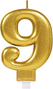 NUMERAL 9 METALLIC GOLD MOULDED CANDLE