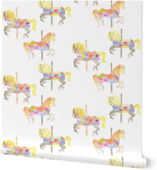 spoonflower non pasted wallpaper carousel watercolor nursery decor horse carnival circus pony party print 24in x 27ft roll amazon com spoonflower non pasted wallpaper carousel watercolor nursery decor horse carnival circus pony party print 24in x 27ft roll