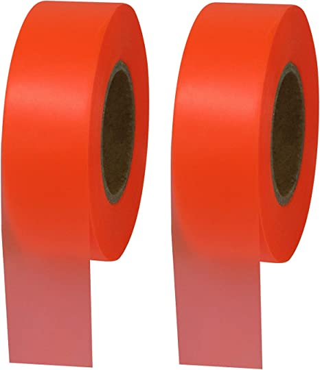 72 Rolls 300/' ORANGE FLAGGING TAPE Highly Visible Polyethylene Marking Ribbon