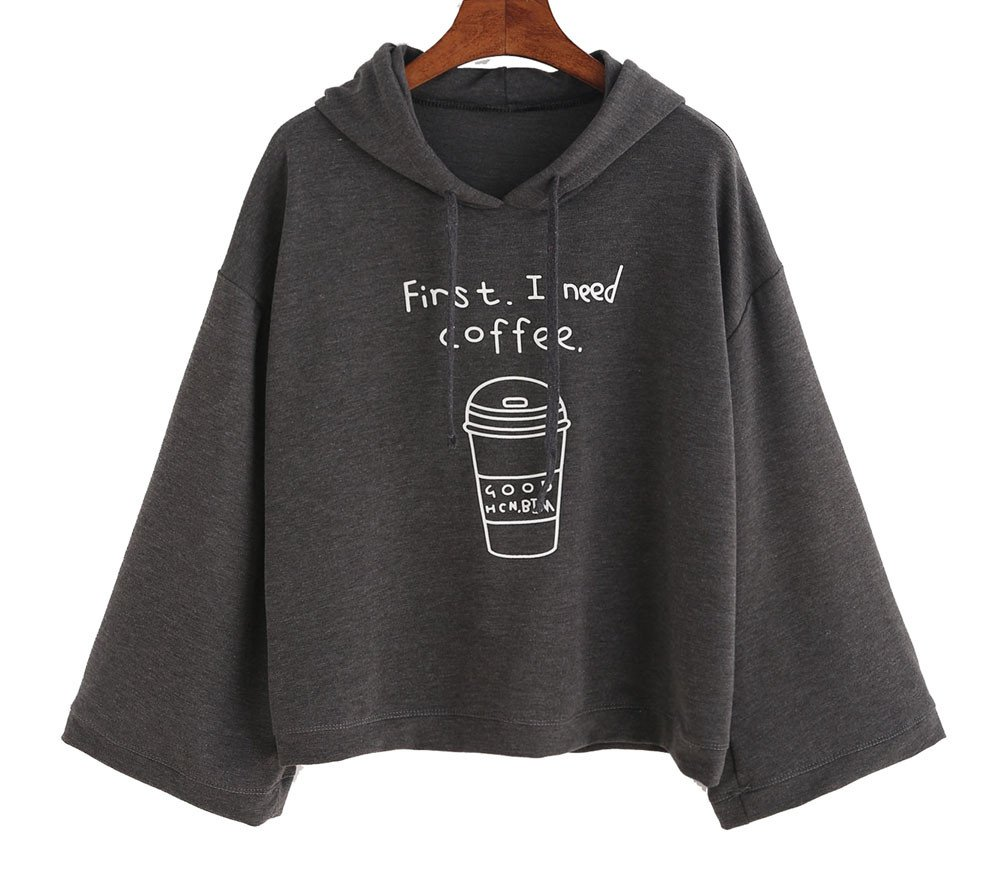 Women Girls Letter Print Bell Sleeve Hooded Drawstring Casual Sweatshirt Pullover Top (M, Gray)