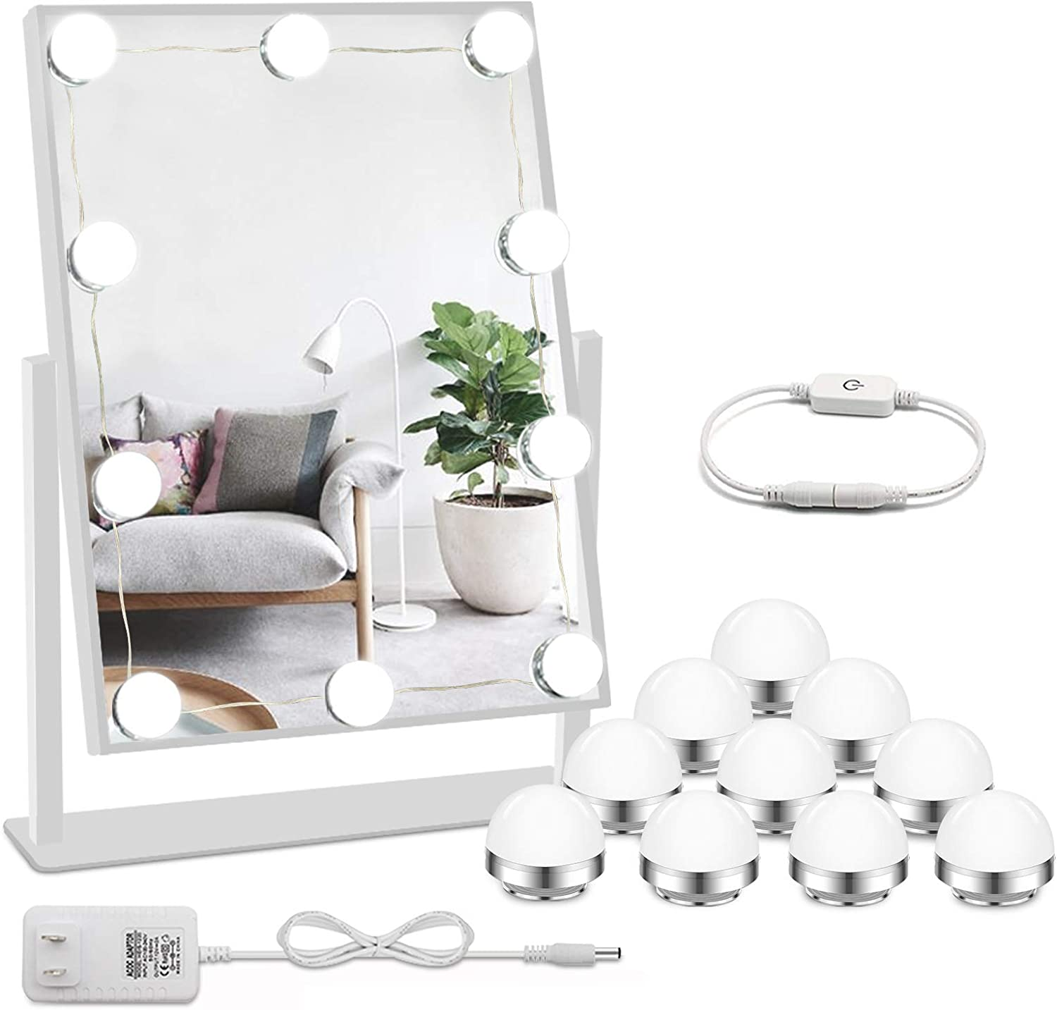 Laza 10-Bulb Hollywood Style DIY LED Vanity Lights Makeup Lighting Fixture Strip with 3 Color Modes and USB Port for Full Body Length Makeup Mirror /& Bathroom Wall Mirror Mirror Not Included