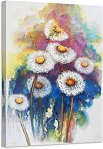 Acocifi Dandelion Canvas Wall Art Flowers Painting Modern Watercolor Florals Picture Simple Life Prints Artwork Framed Ready to Hang for Bedroom Bathroom Home and Office Decor 24