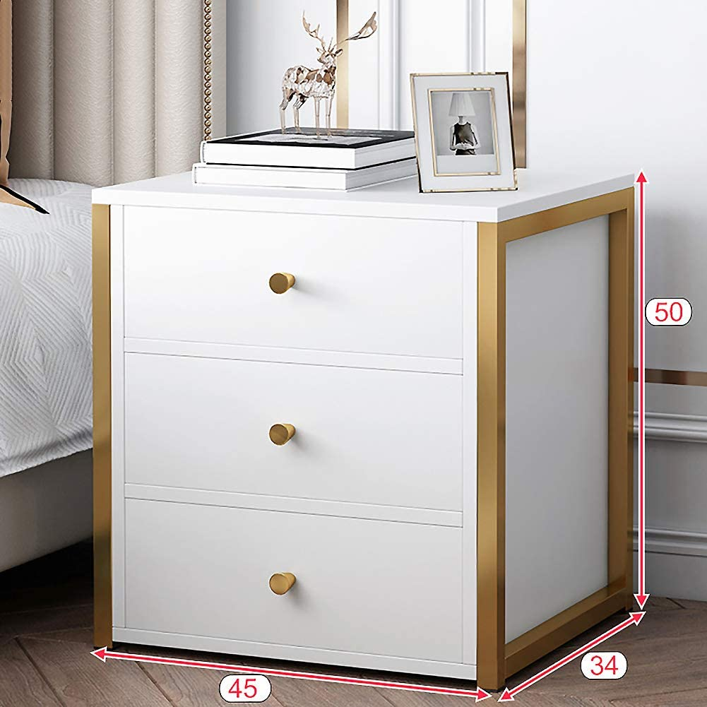 XM&LZ Mid-Century Nightstand with Drawers,Solid Wood Metal Frame Bedside Table Side Table,Bedroom End Table Nightstand with Sliding Drawer A 3 Drawers