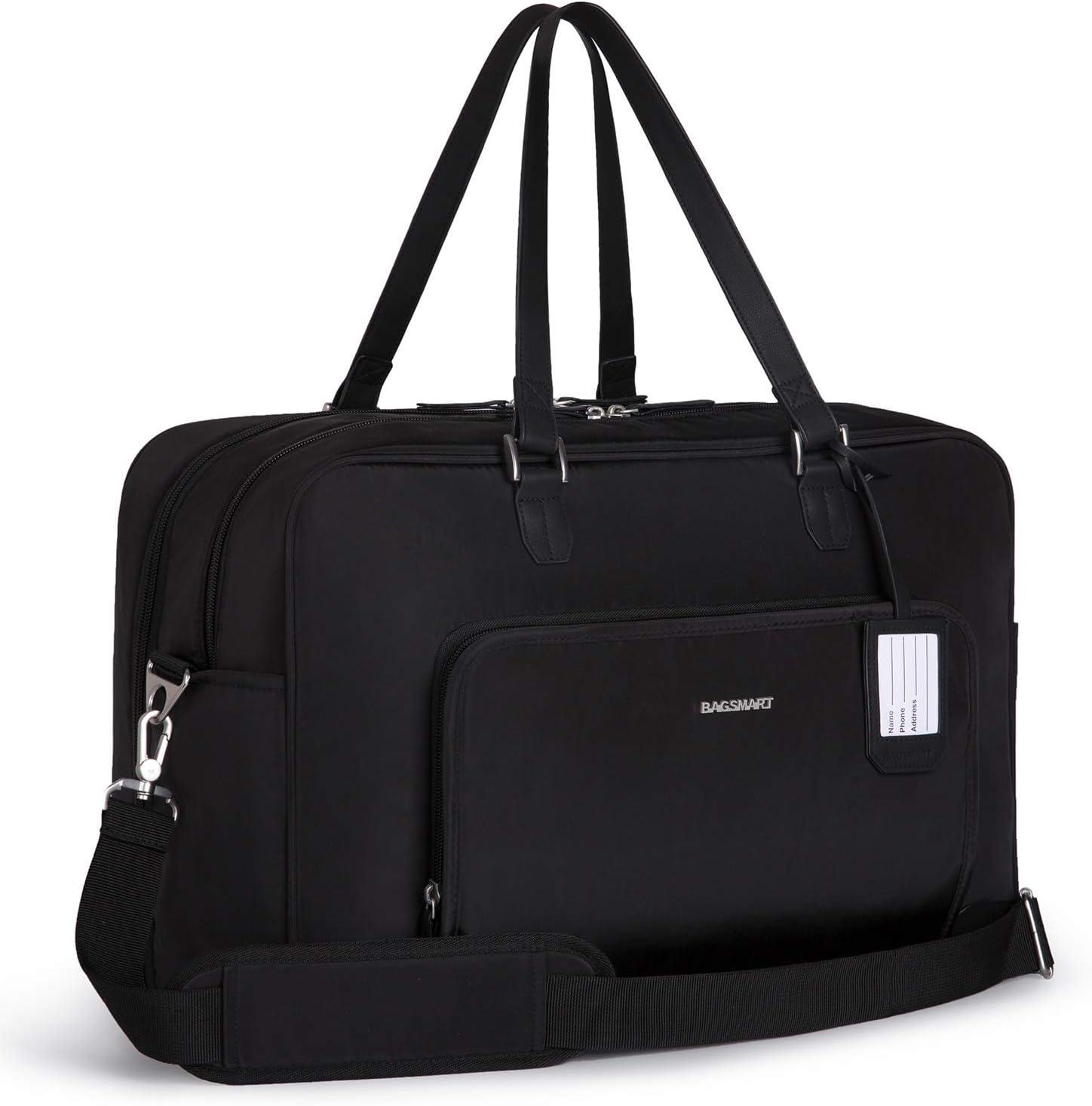 BAGSMART Weekender Bag Travel Duffle Bag Under Seat Carry On Bag for Travel, Gym, Sport, Black
