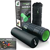 FanaticsPRO Black Foam Roller Massager-High Density Grid Rollers For Back Muscles Massage, Yoga & Soft Muscle Roll With Trigger Point Therapy / Exercise Guide