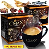 2 Boxes (24 sachets) of CMAX Best instant Coffee herbal dietary supplement Cordyceps , Ginseng , Date Powder , Hawthorn Berry powder, sugar free , Trans-Fat-Free Product