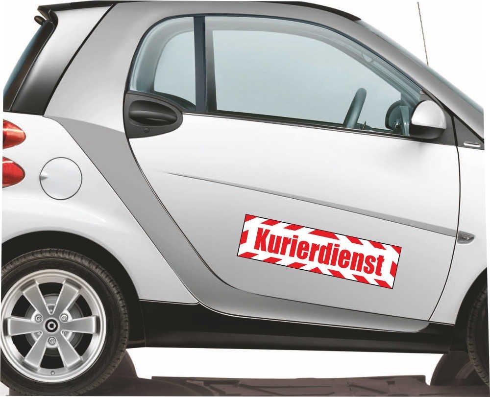INDIGOS UG Magnetschild Kurierdienst mit Rahmen 45 x 12 cm Magnetfolie f/ür Auto//LKW//Truck//Baustelle//Firma