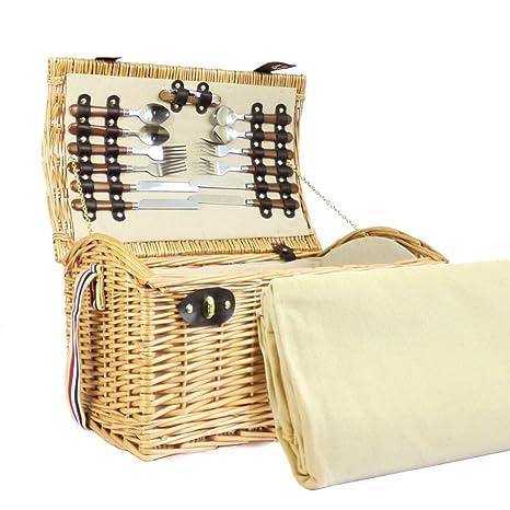 4 Persona Hadleigh Wicker cesta de cesto de picnic con ...