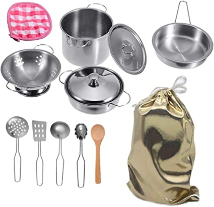 Amazon Com Mini Stainless Steel Kitchen Toys Tiny Size Pretend Cooking Utensils Toys For Kids Cookware Pots And Pans Play Set With Cooking Safety Educational Kitchen Experience Toy Stored In A Cute Cloth Bag