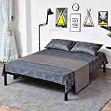 Metal Bed Frame Steel Queen Size Decor Iron Base with Headboard and Footboard Legs Platform Slats Cover Black 630 (Queen)