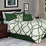 Lavish Home 7-Piece Oversized Trellis Comforter Set, King, Green