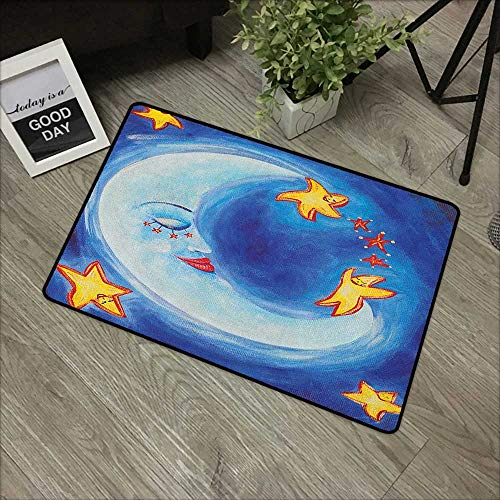 bathroom entry rugs Moon,Vibrant Happy Dancing Stars and