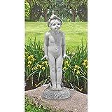 Cheap Design Toscano 1916 Wildflower Pixie Garden Boy Statue, Antique Stone