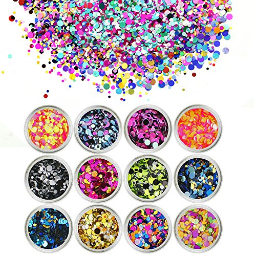 Lips Nails Face Eyes (TKOnline 12pcs Colorful Mixed Paillette Nail Glitter Body Glitter Slime Supplies Glitter Powder Sequins for Face Nail Hair Eyes or Lips, DIY for Art Projects)