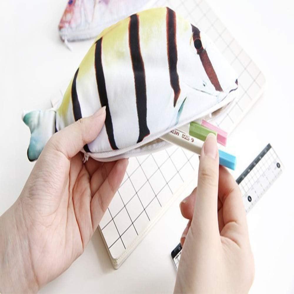 Estuche con forma de pez realista para carpa, bolsa de maquillaje, bolso cambiador de bolsillo, moda bonita, tres tipos de patrones de pescado, color 219 31 * 14cm: Amazon.es: Oficina y papelería