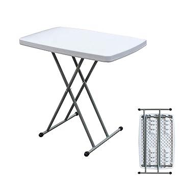 sogesfurniture Table de Jardin Blanc en Plastique - Intérieure/Extérieure/,  Table Pliante pour Camping Traiteur Buffet Picnic, Hauteur réglable, ...
