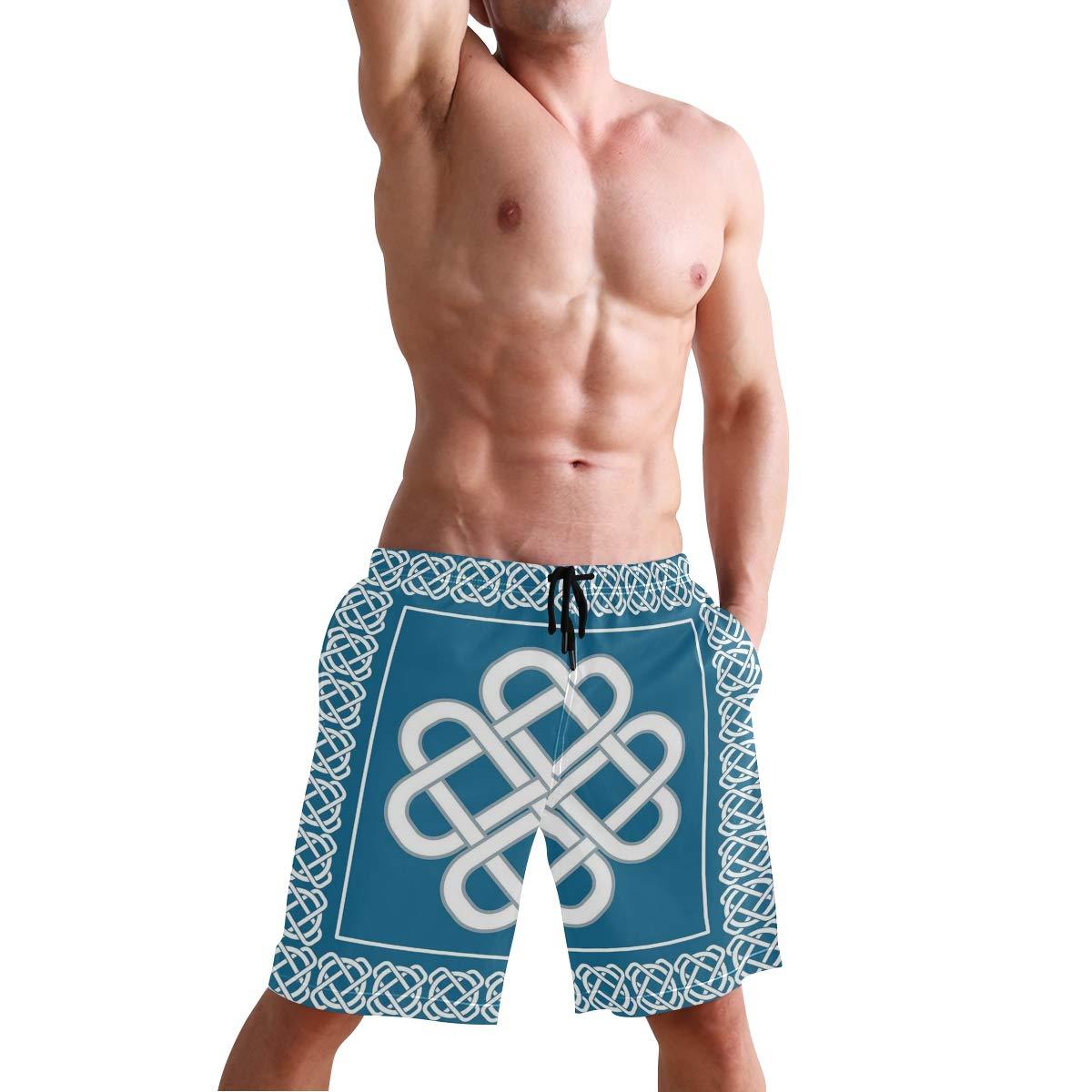COVASA Mens Summer ShortsCeltic Love Knot Good Fortune Symbol Framework Border