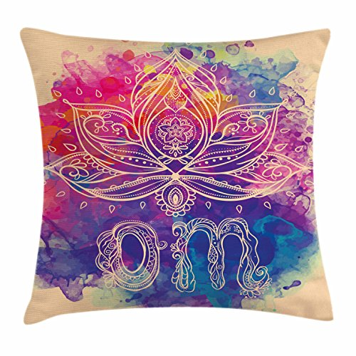 Ambesonne Chakra Decor Throw Pillow Cushion Cover, Psychedelic Oriental Lettering and Lillies with Surreal Hallucinatory Background, Decorative Square Accent Pillow Case, 18 X18 Inches, Multi