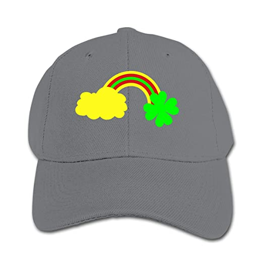 0915317bac050a Amazon.com: Four Leaf Clover at The End of The Rainbow Trucker Caps ...