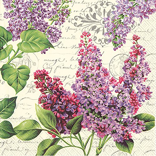 Ecru Letter - Celebrate the Home Floral 3-Ply Paper Cocktail Napkins, Lilac Letter, 20-Count