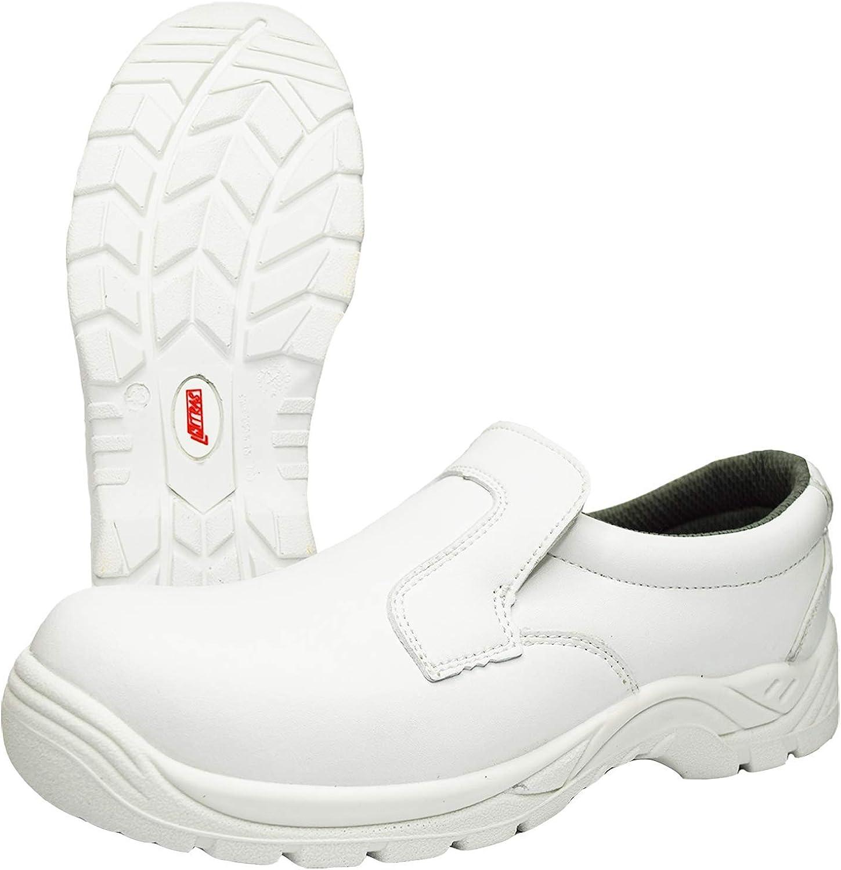 Zapatillas de Trabajo Nitras 7250 Clean Step I - Zapatilla de Seguridad - S2 Zapatos - Sanitario - Hosteleria - Resistentes al Agua con Punta de Acero - Blancos