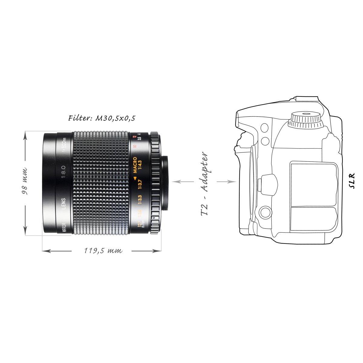 Walimex - Lente para teleobjetivo con Montura T2 (Rosca de 30,5 mm ...