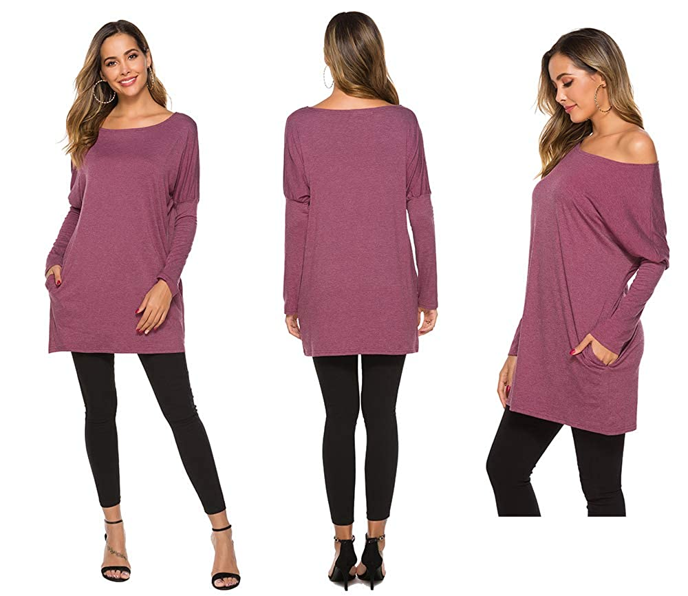 POGTMM Women Batwing Dolman Long Sleeve Tee Shirts Off Shoulder/Tunic Tops Slouchy Blouse with Pocket