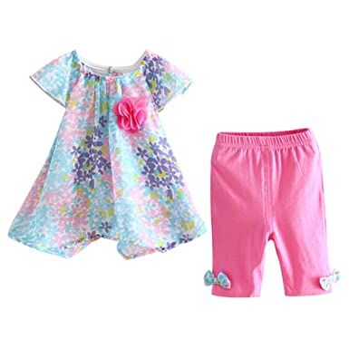 fcf845236f35 LittleSpring Baby Girls Summer Outfit Floral Cap Sleeve Top and Pants Set  Blue-Rose Size