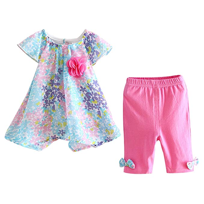 c7bf0261bee5 LittleSpring Baby Girls Summer Outfit Floral Cap Sleeve Top and Pants Set  Blue-Rose Size